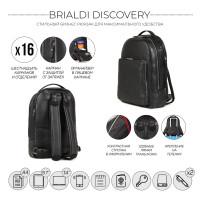 Мужской рюкзак с 16 карманами и отделениями BRIALDI Discovery (Дискавери) relief black