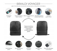 Стильный кожаный рюкзак BRIALDI Voyager (Вояджер) relief black в магазине Galantmaster.ru фото