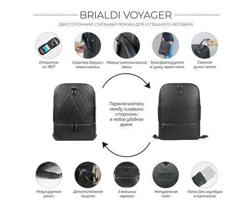 Стильный кожаный рюкзак BRIALDI Voyager (Вояджер) relief black