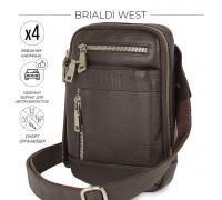 Кожаная сумка через плечо mini-формата BRIALDI West (Вест) relief brown в магазине Galantmaster.ru фото