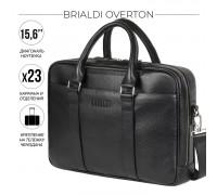 Функциональная мужская деловая сумка BRIALDI Overton (Эвертон) relief black в магазине Galantmaster.ru фото