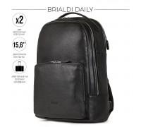 Мужской рюкзак с 2 отделениями BRIALDI Daily (Дейли) relief black в магазине Galantmaster.ru фото
