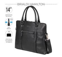 Мужская деловая сумка SLIM-формата для документов BRIALDI Hamilton (Гамильтон) relief black