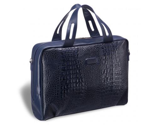 Женская деловая сумка BRIALDI Elche (Эльче) croco navy