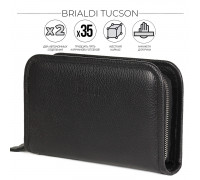 Вместительный мужской клатч BRIALDI Tucson (Тусон) relief black BR44382UL