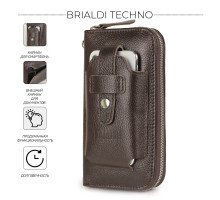 Мужской клатч BRIALDI Techno (Техно) relief brown