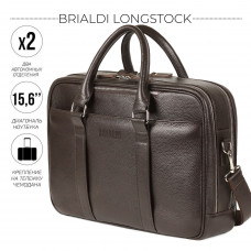 Вместительная деловая сумка с 2 отделениями BRIALDI Longstock (Лонгсток) relief brown в магазине Galantmaster.ru фото