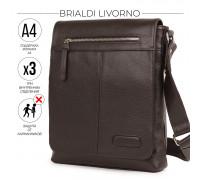 Кожаная сумка через плечо BRIALDI Livorno (Ливорно) relief brown в магазине Galantmaster.ru фото