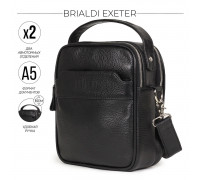 Кожаная сумка через плечо BRIALDI Exeter (Эксетер) relief black в магазине Galantmaster.ru фото