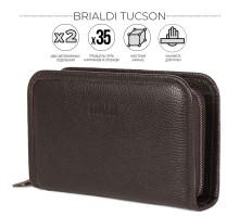 Вместительный мужской клатч BRIALDI Tucson (Тусон) relief brown