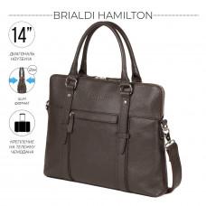 Мужская деловая сумка SLIM-формата для документов BRIALDI Hamilton (Гамильтон) relief brown в магазине Galantmaster.ru фото