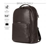Мужской рюкзак с 2 отделениями BRIALDI Daily (Дейли) relief brown BR37168KD