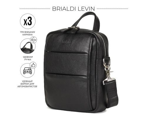 Кожаная сумка через плечо BRIALDI Levin (Левин) relief black