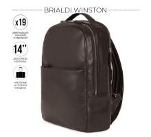 Стильный деловой рюкзак с 19 карманами и отделениями BRIALDI Winston (Винстон) relief brown