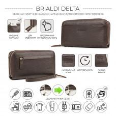Мужской клатч с двумя отделениями BRIALDI Delta (Дельта) relief brown в магазине Galantmaster.ru фото