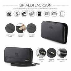 Компактный мужской клатч BRIALDI Jackson (Джексон) relief black