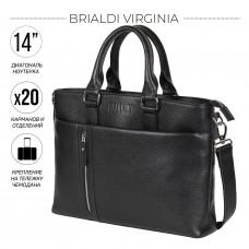 Функциональная мужская деловая сумка BRIALDI Virginia (Вирджиния) relief black в магазине Galantmaster.ru фото