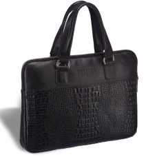 Женская деловая сумка SLIM-формата BRIALDI Belvi (Бельви) croco black в магазине Galantmaster.ru фото