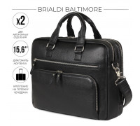 Мужская деловая сумка с 23 карманами и отделами BRIALDI Baltimore (Балтимор) relief black