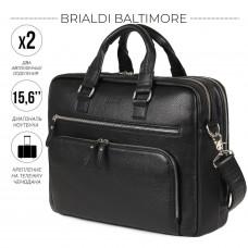 Мужская деловая сумка с 23 карманами и отделами BRIALDI Baltimore (Балтимор) relief black в магазине Galantmaster.ru фото