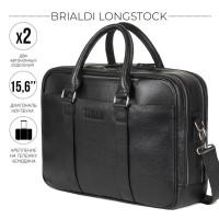 Вместительная деловая сумка с 2 отделениями BRIALDI Longstock (Лонгсток) relief black