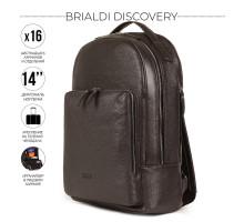 Мужской рюкзак с 16 карманами и отделениями BRIALDI Discovery (Дискавери) relief brown