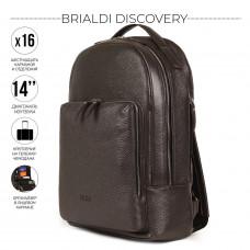 Мужской рюкзак с 16 карманами и отделениями BRIALDI Discovery (Дискавери) relief brown в магазине Galantmaster.ru фото