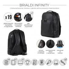 Мужской рюкзак с 2 автономными отделениями BRIALDI Infinity (Инфинити) relief black в магазине Galantmaster.ru фото