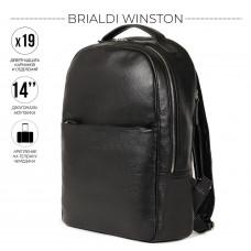 Стильный деловой рюкзак с 19 карманами и отделениями BRIALDI Winston (Винстон) relief black в магазине Galantmaster.ru фото