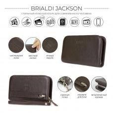 Компактный мужской клатч BRIALDI Jackson (Джексон) relief brown
