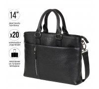 Функциональная мужская деловая сумка BRIALDI Virginia (Вирджиния) relief black