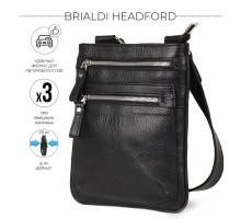 Кожаная сумка через плечо BRIALDI Headford (Хедфорд) relief black