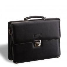 Стильный портфель классической формы BRIALDI Fleming (Флеминг) black в магазине Galantmaster.ru фото