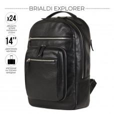 Деловой рюкзак BRIALDI Explorer (Эксплорер) relief black в магазине Galantmaster.ru фото