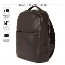 Стильный деловой рюкзак с 19 карманами и отделениями BRIALDI Winston (Винстон) relief brown в магазине Galantmaster.ru фото
