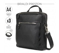 Кожаная сумка через плечо BRIALDI Preston (Престон) relief black в магазине Galantmaster.ru фото