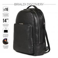 Мужской рюкзак с 16 карманами и отделениями BRIALDI Discovery (Дискавери) relief black в магазине Galantmaster.ru фото