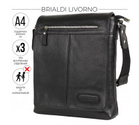 Кожаная сумка через плечо BRIALDI Livorno (Ливорно) relief black в магазине Galantmaster.ru фото