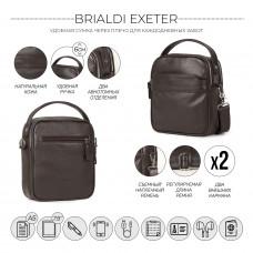 Кожаная сумка через плечо BRIALDI Exeter (Эксетер) relief brown в магазине Galantmaster.ru фото