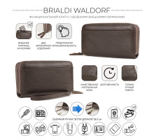 Мужской клатч с двумя отделениями BRIALDI Waldorf (Уолдорф) relief brown