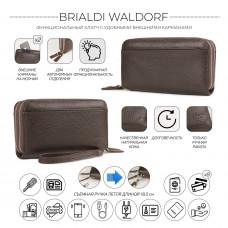 Мужской клатч с двумя отделениями BRIALDI Waldorf (Уолдорф) relief brown в магазине Galantmaster.ru фото