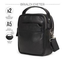 Кожаная сумка через плечо BRIALDI Exeter (Эксетер) relief black