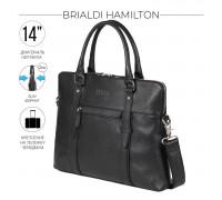 Мужская деловая сумка SLIM-формата для документов BRIALDI Hamilton (Гамильтон) relief black в магазине Galantmaster.ru фото