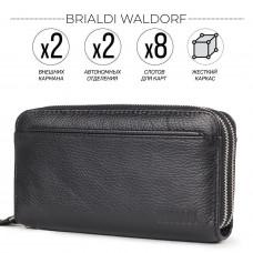Мужской клатч с двумя отделениями BRIALDI Waldorf (Уолдорф) relief black в магазине Galantmaster.ru фото