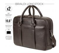 Вместительная деловая сумка с 2 отделениями BRIALDI Longstock (Лонгсток) relief brown BR44554MF