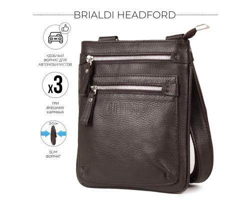 Кожаная сумка через плечо BRIALDI Headford (Хедфорд) relief brown