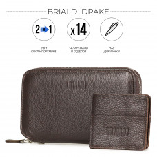 Мультиклатч 2-В-1 BRIALDI Drake (Дрейк) relief brown в магазине Galantmaster.ru фото