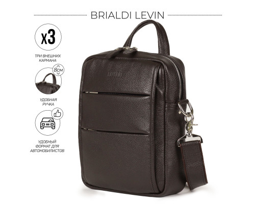 Кожаная сумка через плечо BRIALDI Levin (Левин) relief brown