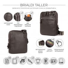 Вертикальная сумка через плечо BRIALDI Taller (Таллер) relief brown в магазине Galantmaster.ru фото