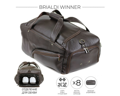 Дорожно-спортивная сумка BRIALDI Winner (Виннер) relief brown